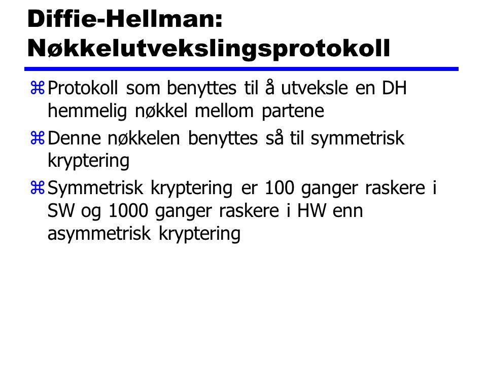 Diffie-Hellman: Nøkkelutvekslingsprotokoll zProtokoll som benyttes til å utveksle en DH hemmelig nøkkel mellom partene zDenne nøkkelen benyttes så til