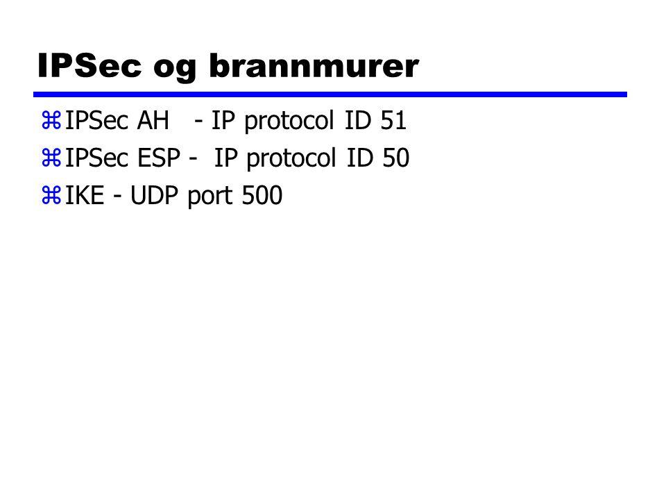 IPSec og brannmurer zIPSec AH - IP protocol ID 51 zIPSec ESP - IP protocol ID 50 zIKE - UDP port 500