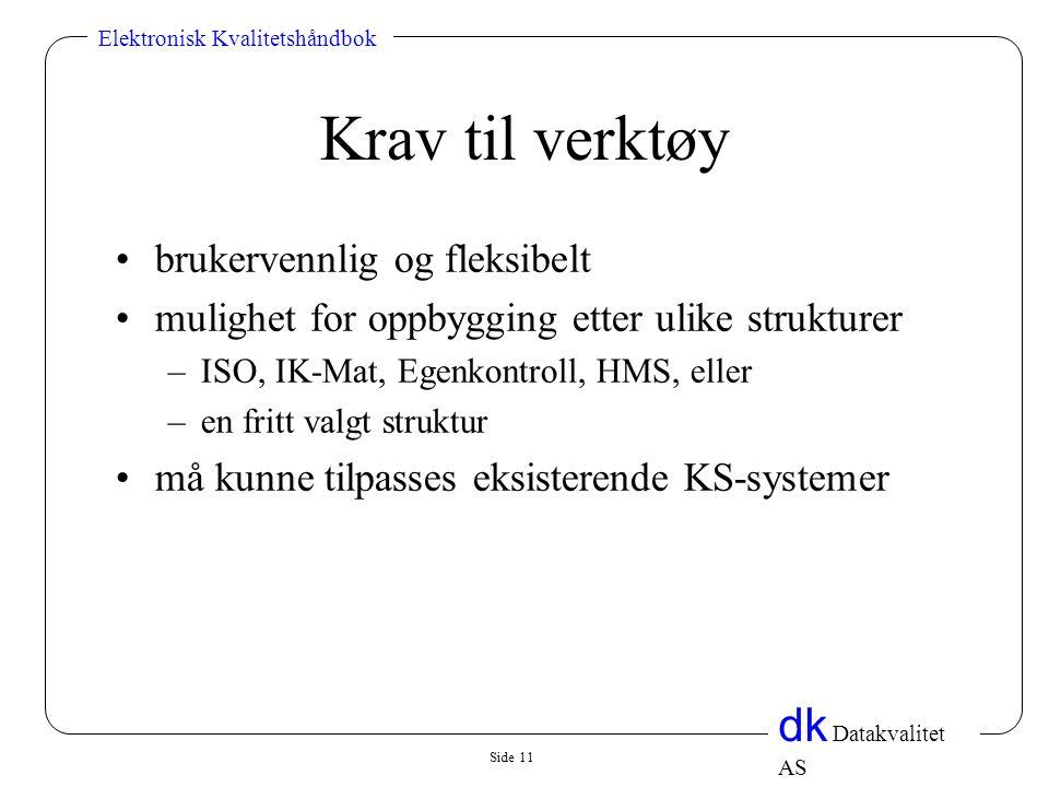 Side 11 dk Datakvalitet AS Elektronisk Kvalitetshåndbok Krav til verktøy •brukervennlig og fleksibelt •mulighet for oppbygging etter ulike strukturer