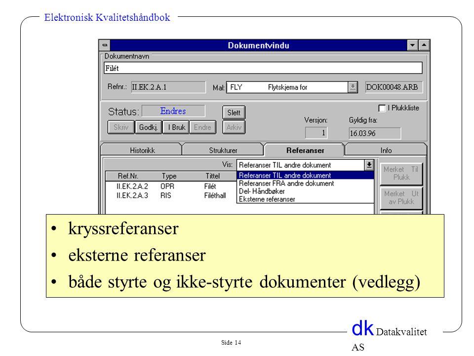 Side 14 dk Datakvalitet AS Elektronisk Kvalitetshåndbok •kryssreferanser •eksterne referanser •både styrte og ikke-styrte dokumenter (vedlegg)