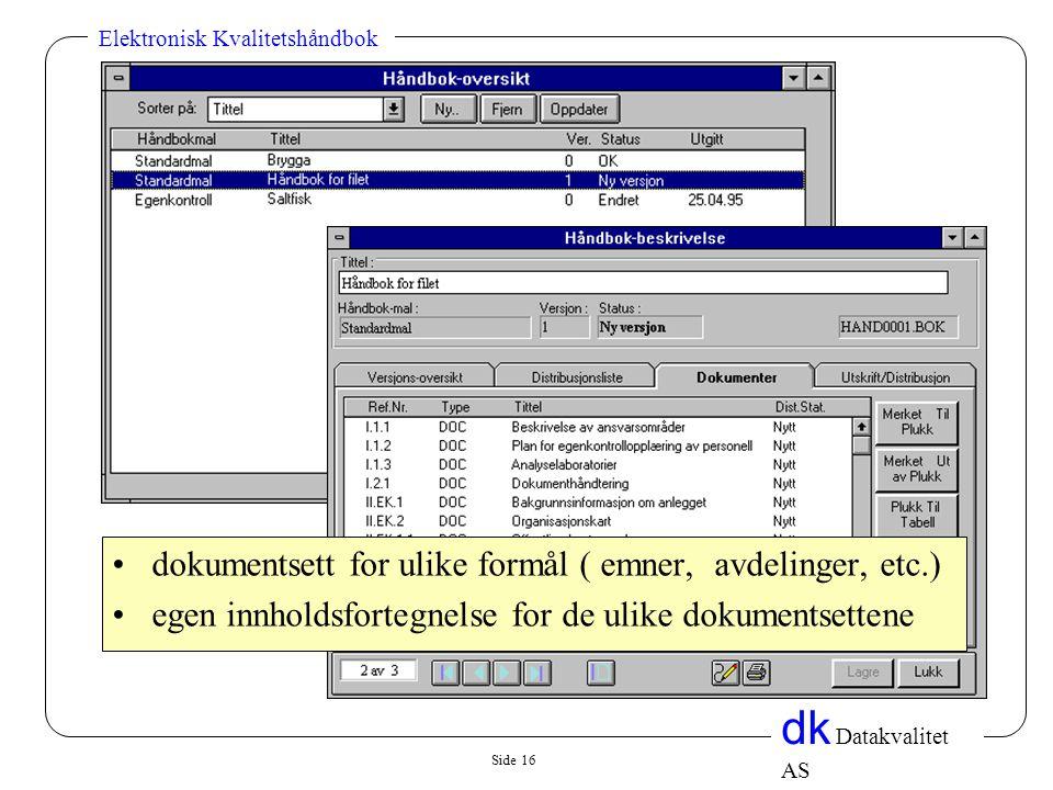 Side 16 dk Datakvalitet AS Elektronisk Kvalitetshåndbok •dokumentsett for ulike formål ( emner, avdelinger, etc.) •egen innholdsfortegnelse for de ulike dokumentsettene