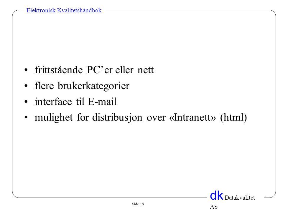 Side 19 dk Datakvalitet AS Elektronisk Kvalitetshåndbok •frittstående PC'er eller nett •flere brukerkategorier •interface til E-mail •mulighet for distribusjon over «Intranett» (html)