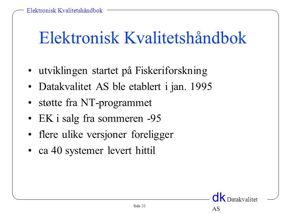 Side 20 dk Datakvalitet AS Elektronisk Kvalitetshåndbok •utviklingen startet på Fiskeriforskning •Datakvalitet AS ble etablert i jan. 1995 •støtte fra