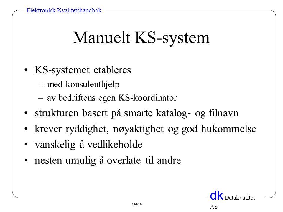 Side 6 dk Datakvalitet AS Elektronisk Kvalitetshåndbok Manuelt KS-system •KS-systemet etableres –med konsulenthjelp –av bedriftens egen KS-koordinator