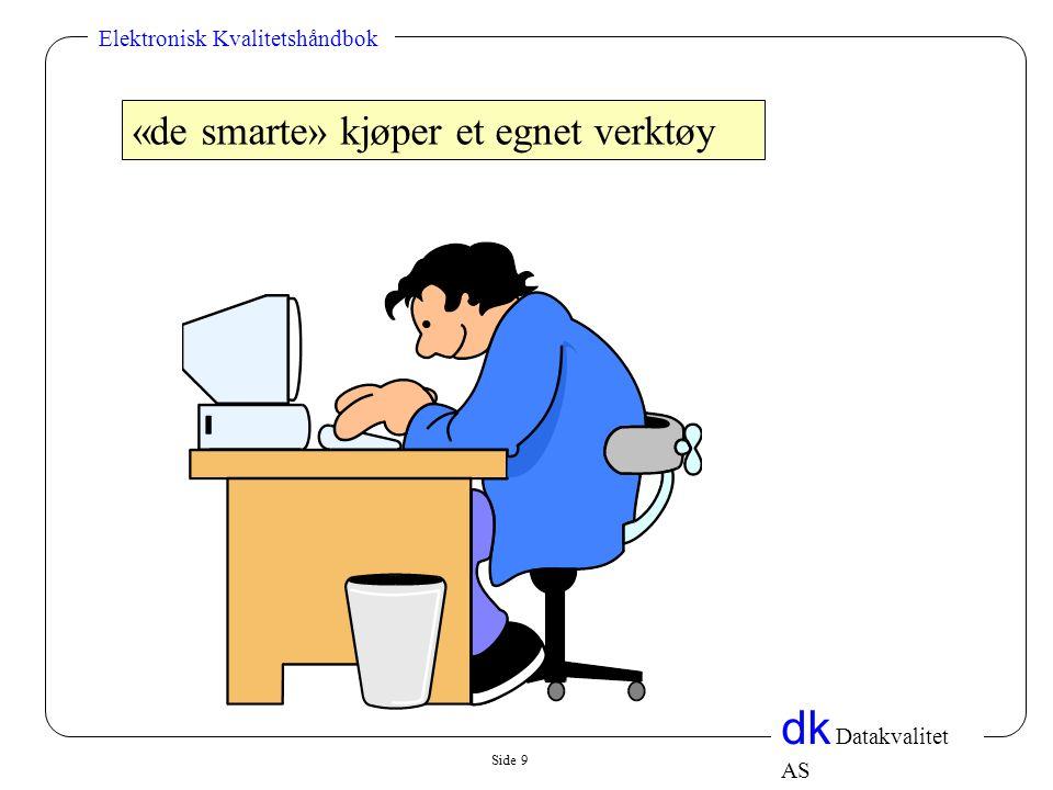 Side 9 dk Datakvalitet AS Elektronisk Kvalitetshåndbok «de smarte» kjøper et egnet verktøy