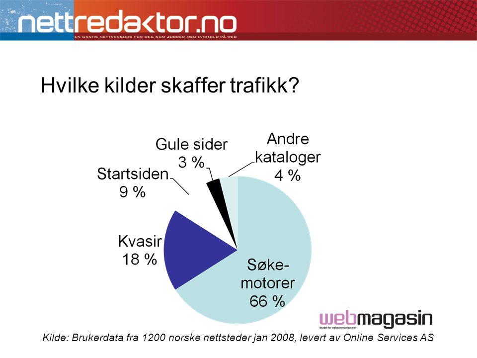Hvilke kilder skaffer trafikk? Kilde: Brukerdata fra 1200 norske nettsteder jan 2008, levert av Online Services AS