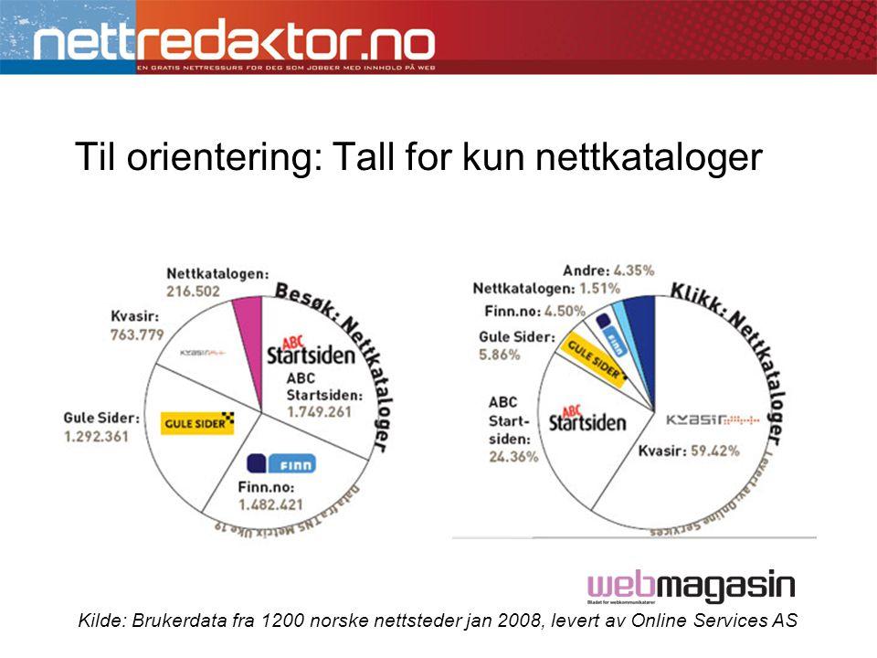 Til orientering: Tall for kun nettkataloger Kilde: Brukerdata fra 1200 norske nettsteder jan 2008, levert av Online Services AS