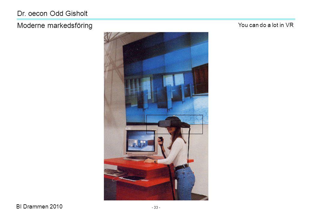 Dr. oecon Odd Gisholt - 32 - BI Drammen 2010 Moderne markedsföring Virtual Reality (VR)