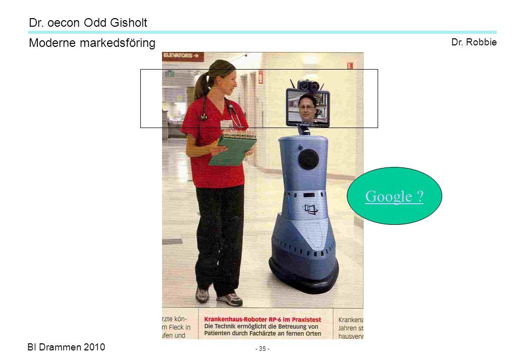 Dr. oecon Odd Gisholt - 34 - BI Drammen 2010 Moderne markedsföring Dagens- og fremtidens konferanse-system!