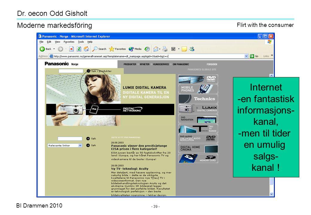 Dr. oecon Odd Gisholt - 38 - BI Drammen 2010 Moderne markedsföring Search help e-agent