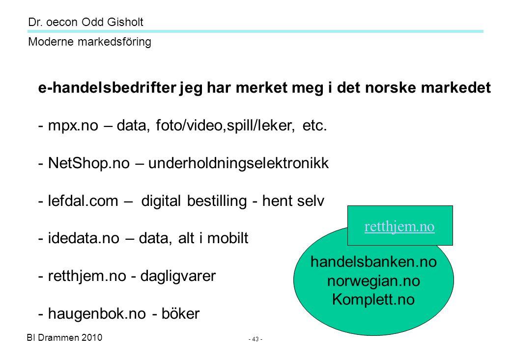 Dr. oecon Odd Gisholt - 42 - BI Drammen 2010 Moderne markedsföring 42 Kilde: SSB.no