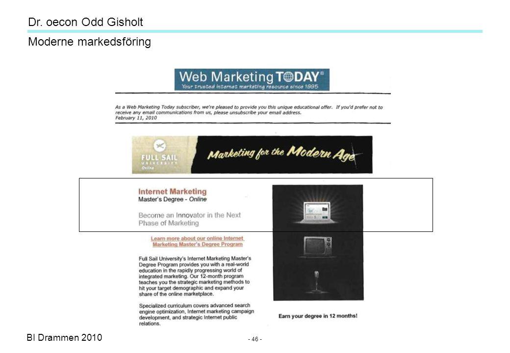 Dr. oecon Odd Gisholt - 45 - BI Drammen 2010 Moderne markedsföring Best on e-commerce ecommercetimes