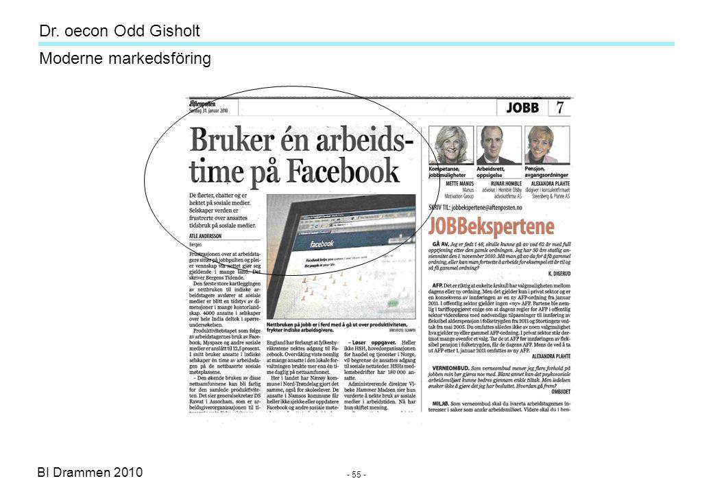 Dr. oecon Odd Gisholt - 54 - BI Drammen 2010 Moderne markedsföring Sosiale medier Daglig bruk av utvalgte medier - NRK 1 TV 62% - TV 2 58% - NRK P1 Ra