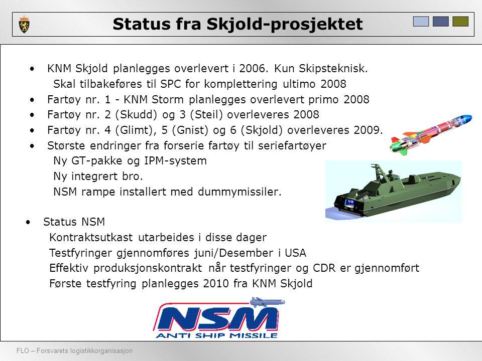 FLO – Forsvarets logistikkorganisasjon Status fra Skjold-prosjektet •KNM Skjold planlegges overlevert i 2006. Kun Skipsteknisk. Skal tilbakeføres til