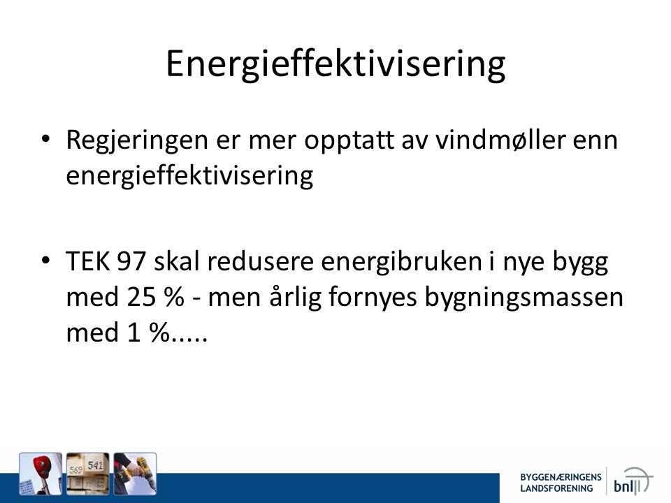 Energieffektivisering • Regjeringen er mer opptatt av vindmøller enn energieffektivisering • TEK 97 skal redusere energibruken i nye bygg med 25 % - men årlig fornyes bygningsmassen med 1 %.....
