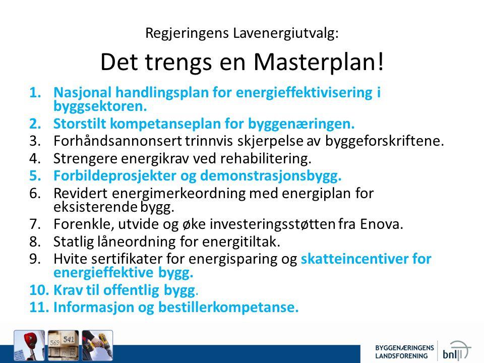 Regjeringens Lavenergiutvalg: Det trengs en Masterplan.