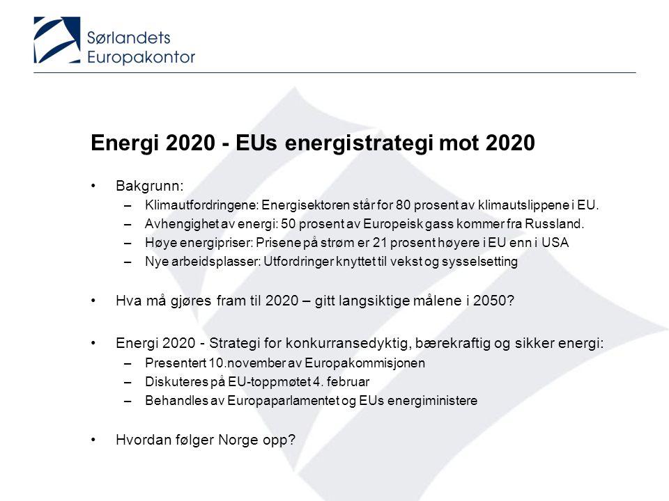 Energi 2020 - EUs energistrategi mot 2020 •Bakgrunn: –Klimautfordringene: Energisektoren står for 80 prosent av klimautslippene i EU. –Avhengighet av