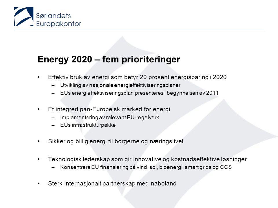 Energy 2020 – fem prioriteringer •Effektiv bruk av energi som betyr 20 prosent energisparing i 2020 –Utvikling av nasjonale energieffektiviseringsplaner –EUs energieffektiviseringsplan presenteres i begynnelsen av 2011 •Et integrert pan-Europeisk marked for energi –Implementering av relevant EU-regelverk –EUs infrastrukturpakke •Sikker og billig energi til borgerne og næringslivet •Teknologisk lederskap som gir innovative og kostnadseffektive løsninger –Konsentrere EU finansiering på vind, sol, bioenergi, smart grids og CCS •Sterk internasjonalt partnerskap med naboland