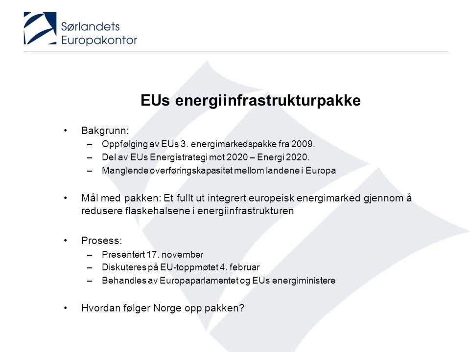 EUs energiinfrastrukturpakke •Bakgrunn: –Oppfølging av EUs 3. energimarkedspakke fra 2009. –Del av EUs Energistrategi mot 2020 – Energi 2020. –Manglen