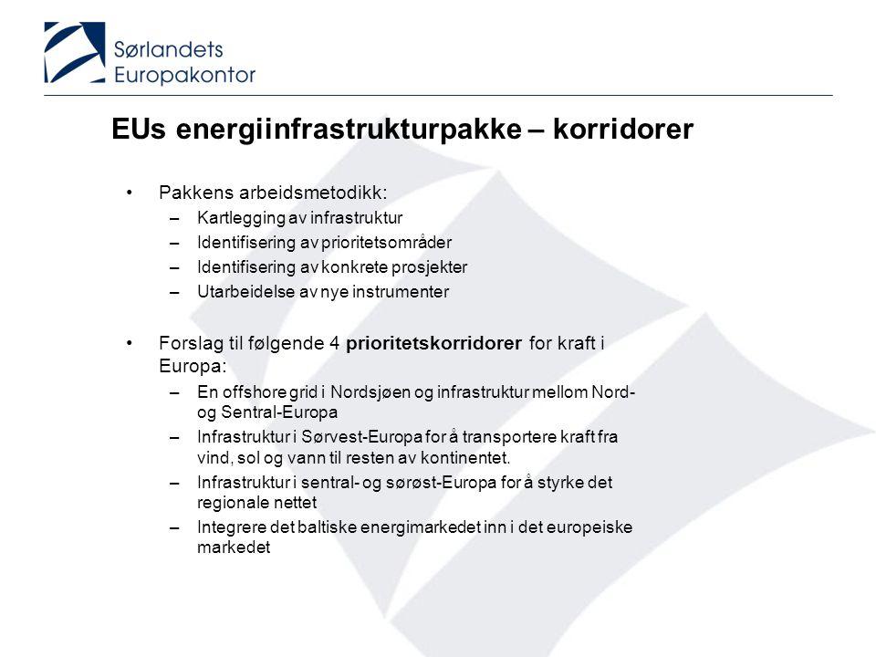 EUs energiinfrastrukturpakke – korridorer •Pakkens arbeidsmetodikk: –Kartlegging av infrastruktur –Identifisering av prioritetsområder –Identifisering av konkrete prosjekter –Utarbeidelse av nye instrumenter •Forslag til følgende 4 prioritetskorridorer for kraft i Europa: –En offshore grid i Nordsjøen og infrastruktur mellom Nord- og Sentral-Europa –Infrastruktur i Sørvest-Europa for å transportere kraft fra vind, sol og vann til resten av kontinentet.