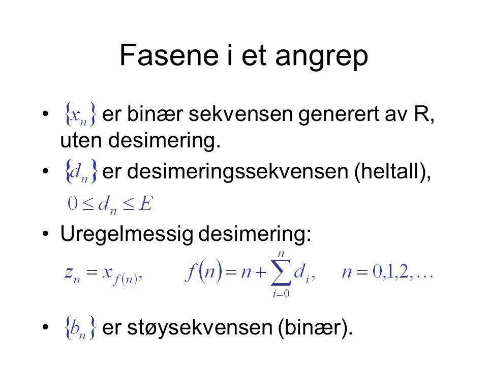 • er binær sekvensen generert av R, uten desimering.