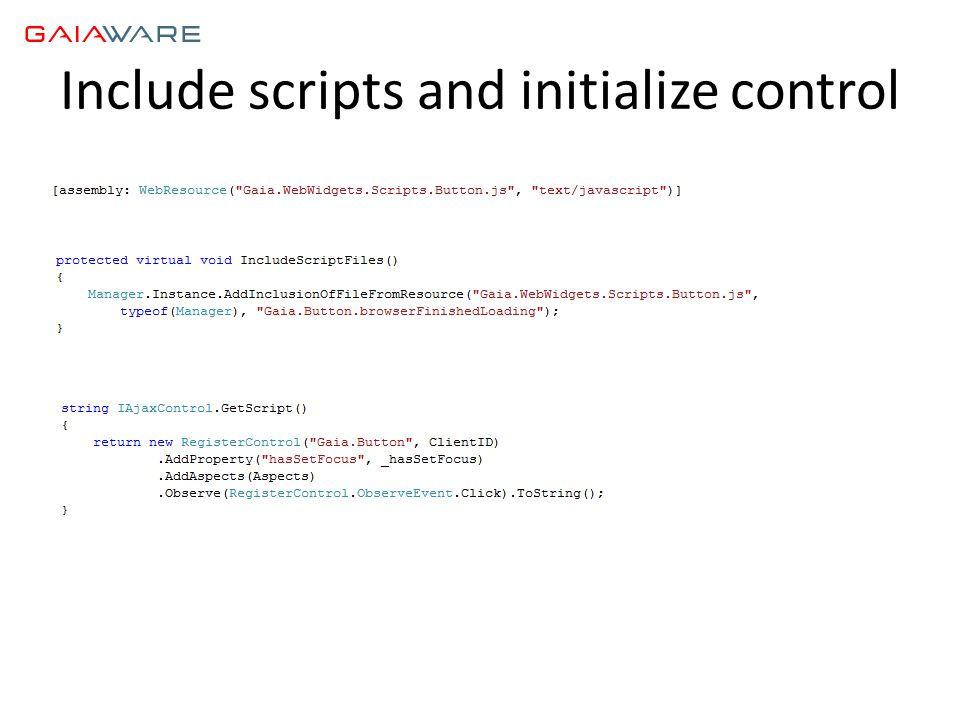 Include scripts and initialize control