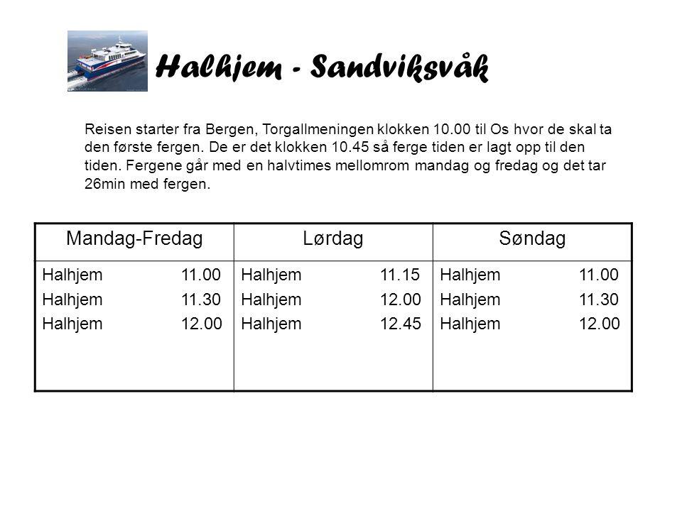 Halhjem - Sandviksvåk Mandag-FredagLørdagSøndag Halhjem 11.00 Halhjem 11.30 Halhjem 12.00 Halhjem 11.15 Halhjem 12.00 Halhjem 12.45 Halhjem 11.00 Halhjem 11.30 Halhjem 12.00 Reisen starter fra Bergen, Torgallmeningen klokken 10.00 til Os hvor de skal ta den første fergen.
