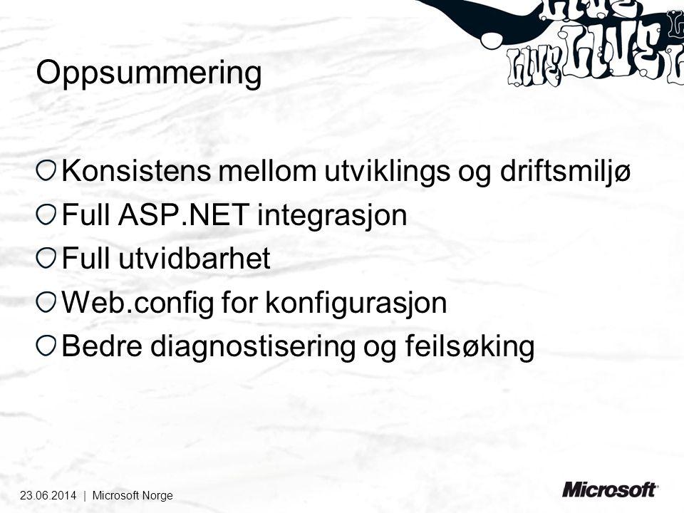 Oppsummering Konsistens mellom utviklings og driftsmiljø Full ASP.NET integrasjon Full utvidbarhet Web.config for konfigurasjon Bedre diagnostisering og feilsøking 23.06.2014 | Microsoft Norge