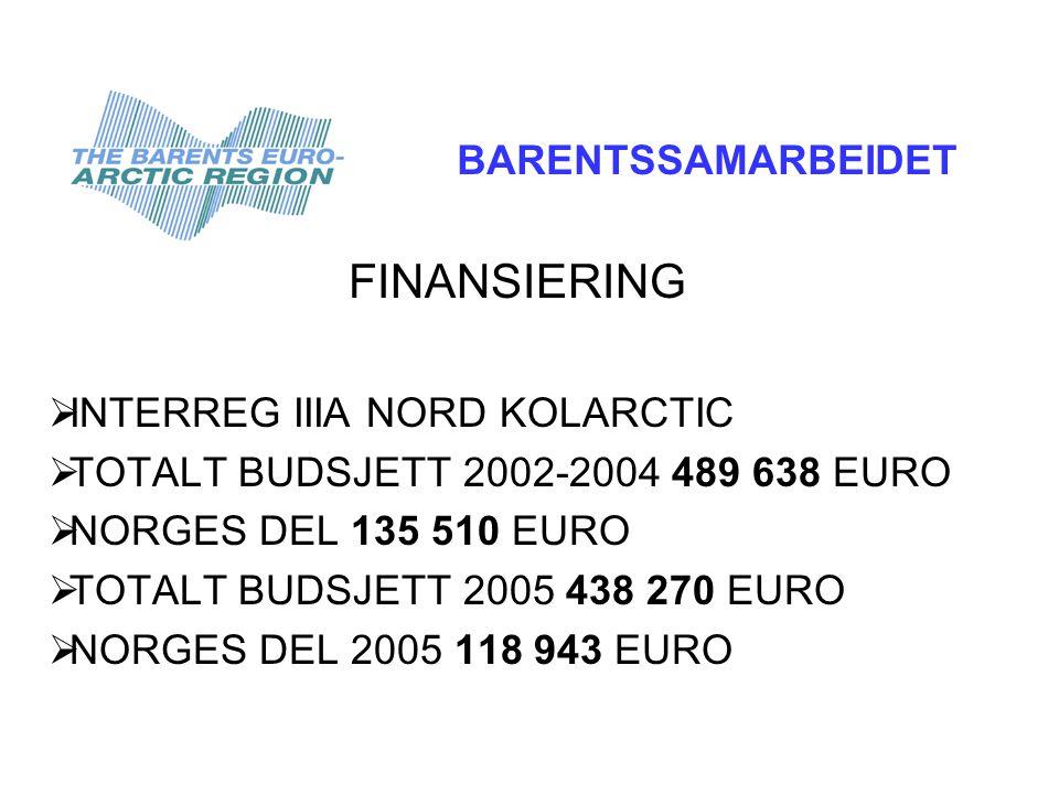 FINANSIERING  INTERREG IIIA NORD KOLARCTIC  TOTALT BUDSJETT 2002-2004 489 638 EURO  NORGES DEL 135 510 EURO  TOTALT BUDSJETT 2005 438 270 EURO  NORGES DEL 2005 118 943 EURO BARENTSSAMARBEIDET