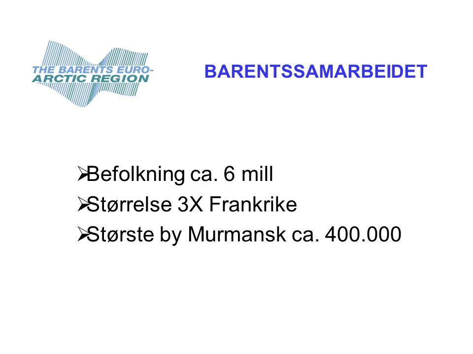  Befolkning ca. 6 mill  Størrelse 3X Frankrike  Største by Murmansk ca.