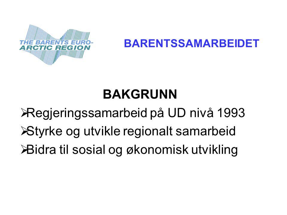 BAKGRUNN  Regjeringssamarbeid på UD nivå 1993  Styrke og utvikle regionalt samarbeid  Bidra til sosial og økonomisk utvikling BARENTSSAMARBEIDET