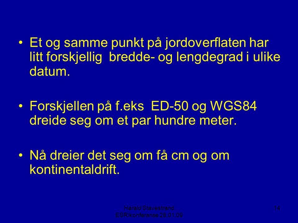 Harald Stavestrand ESRIkonferanse 28.01.09 14 •Et og samme punkt på jordoverflaten har litt forskjellig bredde- og lengdegrad i ulike datum.