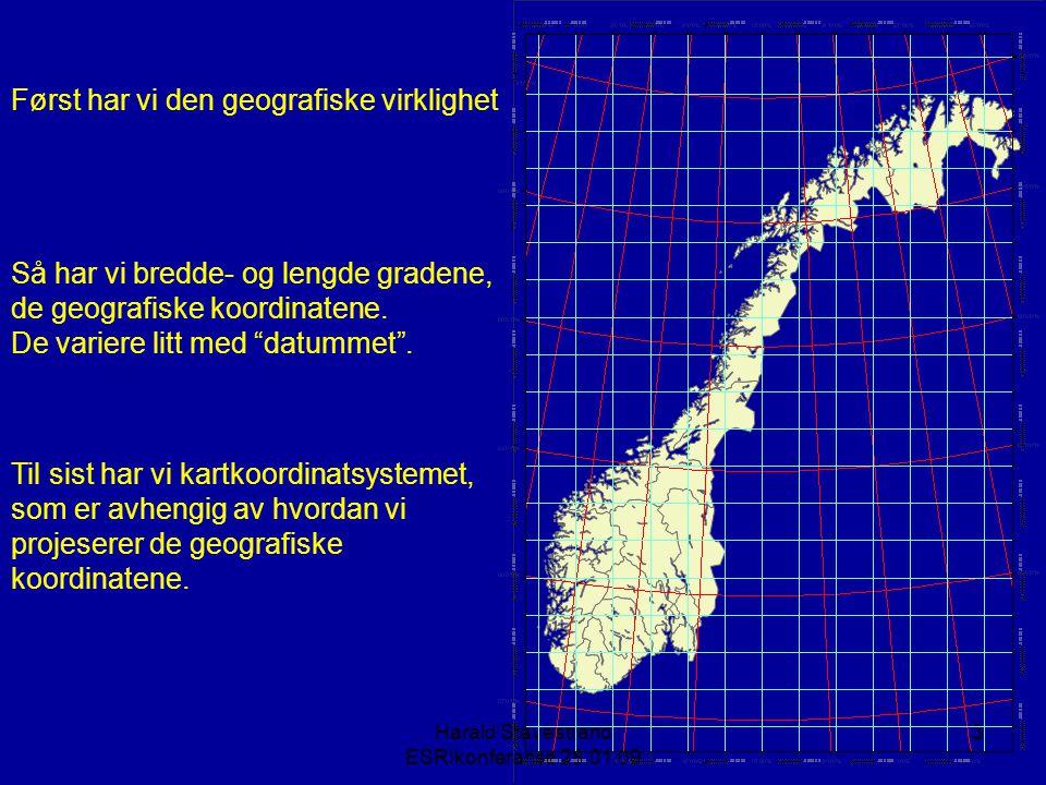 Harald Stavestrand ESRIkonferanse 28.01.09 3 Først har vi den geografiske virklighet Så har vi bredde- og lengde gradene, de geografiske koordinatene.