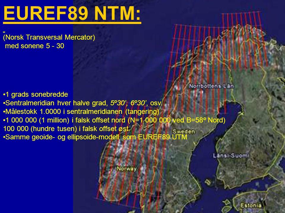 Harald Stavestrand ESRIkonferanse 28.01.09 35 EUREF89 NTM: (Norsk Transversal Mercator) med sonene 5 - 30 •1 grads sonebredde •Sentralmeridian hver halve grad, 5º30', 6º30', osv.