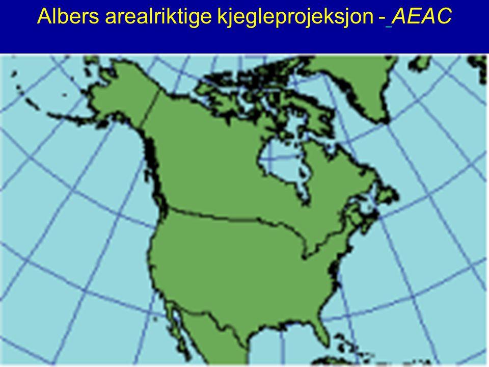 Harald Stavestrand ESRIkonferanse 28.01.09 41 Albers arealriktige kjegleprojeksjon - AEAC