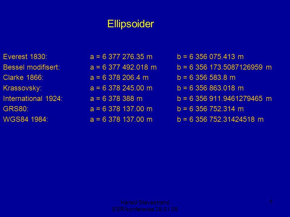 Harald Stavestrand ESRIkonferanse 28.01.09 58 Projeksjon: Globenen (x) (x) (x) (x) X (x) Mercator (x) Transversal Mercator X (x) (x) (x) X Den avstandsriktige planprojeksjonen X Lambert arealriktige planprojeksjon - LAEA X Albers arealriktige kjegleprojeksjon - AEAC X Lamberts formriktige kjegleprojeksjon - LCC X Hotines mercator på skrå X x x x Krovaks skrå kjegleprojeksjon X x X X A: topografiB: økonomiC : flykart D: Nasjonale kart Formål: E: Forvaltning av GIS-dataF: KartDAK i BA