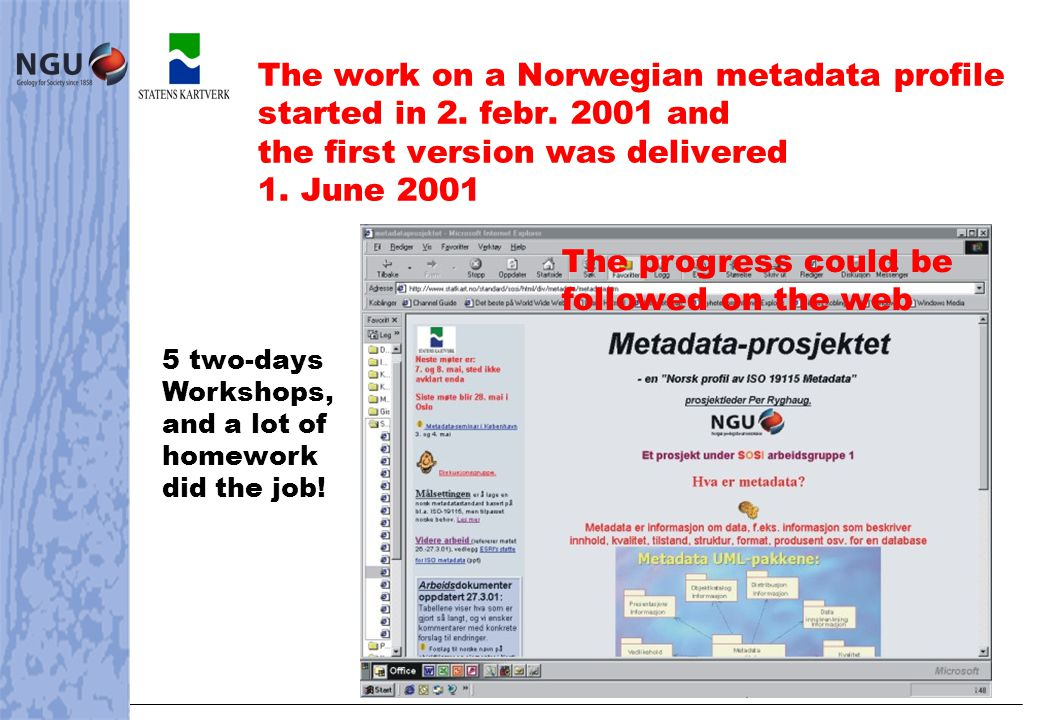Geodata Catalogue must work in all browsers on Internet The Norwegian geographic infrastructure - catalogue Arc Catalog + others..and in other catalogue services A 1 st version already implemented