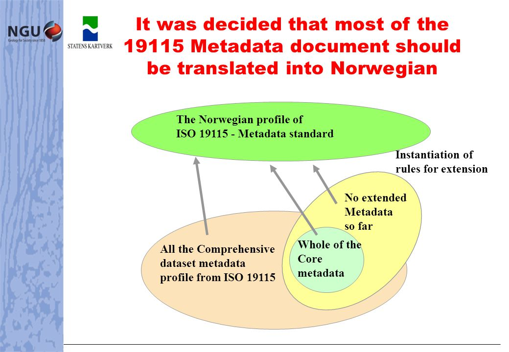 It was decided that most of the 19115 Metadata document should be translated into Norwegian The Norwegian profile of ISO 19115 - Metadata standard All the Comprehensive dataset metadata profile from ISO 19115 Instantiation of rules for extension No extended Metadata so far Whole of the Core metadata