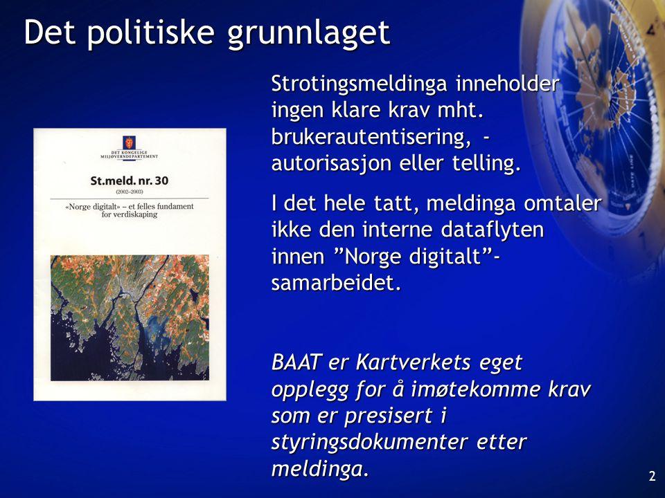 3 Mål for BAAT •sikre at Norge digitalt-tjenester bare benyttes av autentiserte og autoriserte brukere og/eller brukerapplikasjoner (unntatt tjenester som skal være fritt tilgjengelige) •registrere og telle bruk av tjenestene og henføre bruken til identifiserte brukere og/eller brukerapplikasjoner
