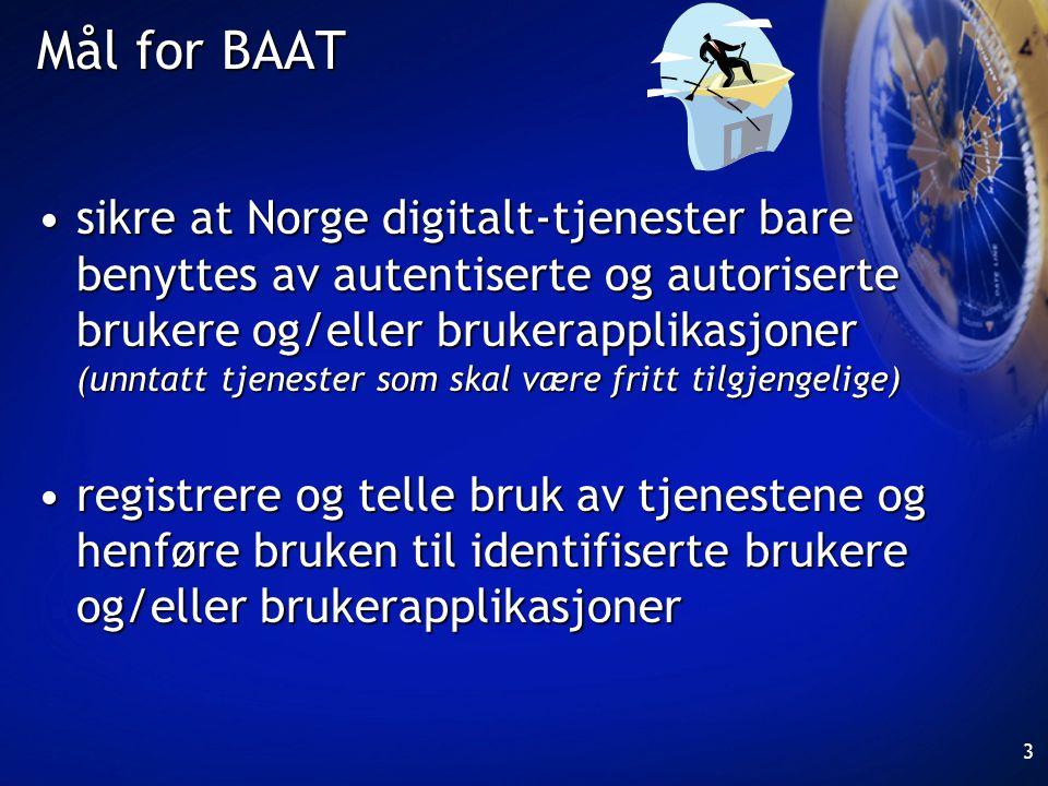 3 Mål for BAAT •sikre at Norge digitalt-tjenester bare benyttes av autentiserte og autoriserte brukere og/eller brukerapplikasjoner (unntatt tjenester