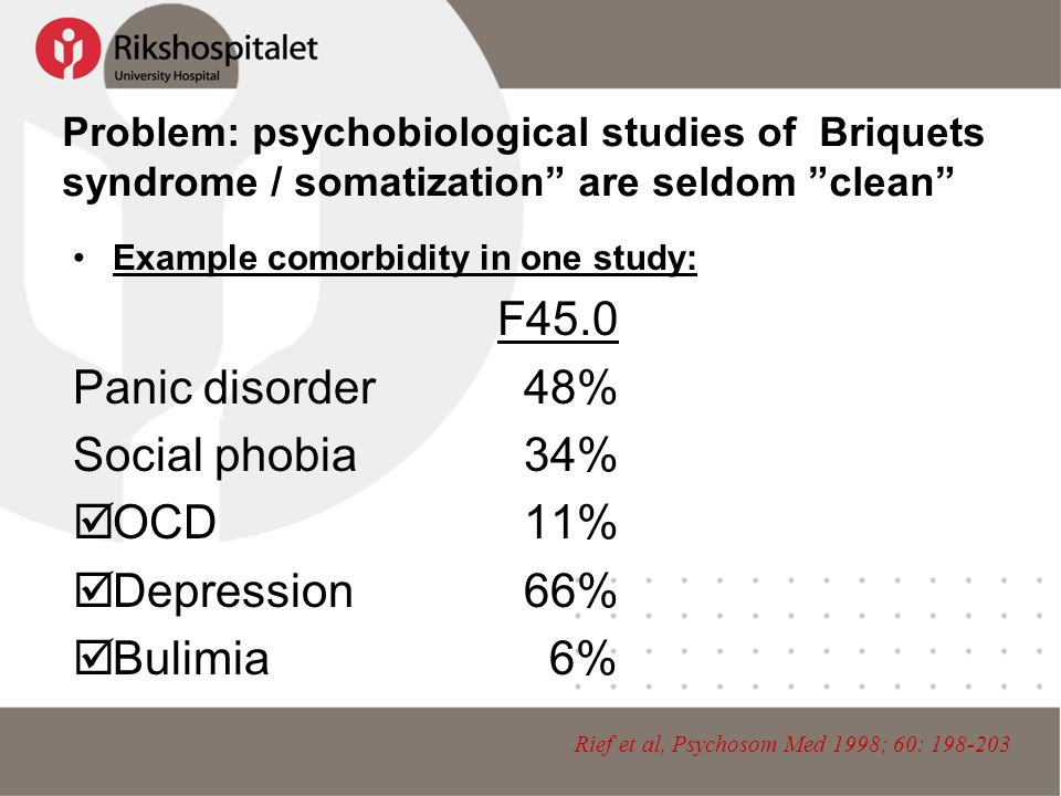 Problem: psychobiological studies of Briquets syndrome / somatization are seldom clean •Example comorbidity in one study: F45.0 Panic disorder 48% Social phobia 34%  OCD 11%  Depression 66%  Bulimia 6% Rief et al, Psychosom Med 1998; 60: 198-203