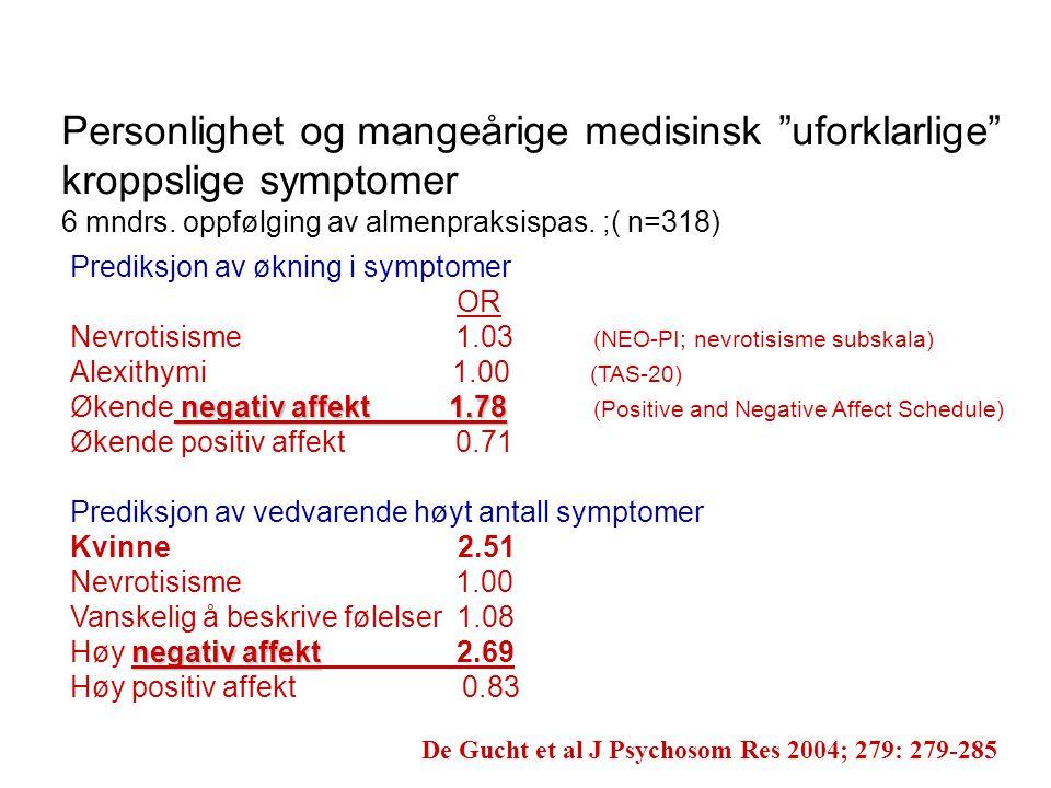 """Personlighet og mangeårige medisinsk """"uforklarlige"""" kroppslige symptomer 6 mndrs. oppfølging av almenpraksispas. ;( n=318) De Gucht et al J Psychosom"""