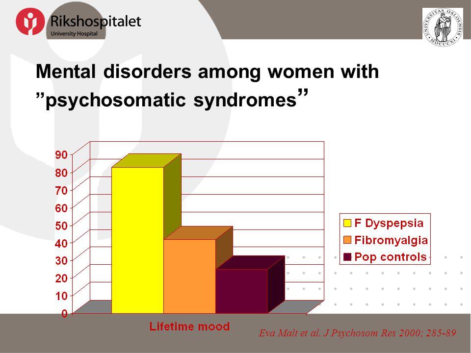 "Mental disorders among women with ""psychosomatic syndromes "" Eva Malt et al. J Psychosom Res 2000; 285-89"