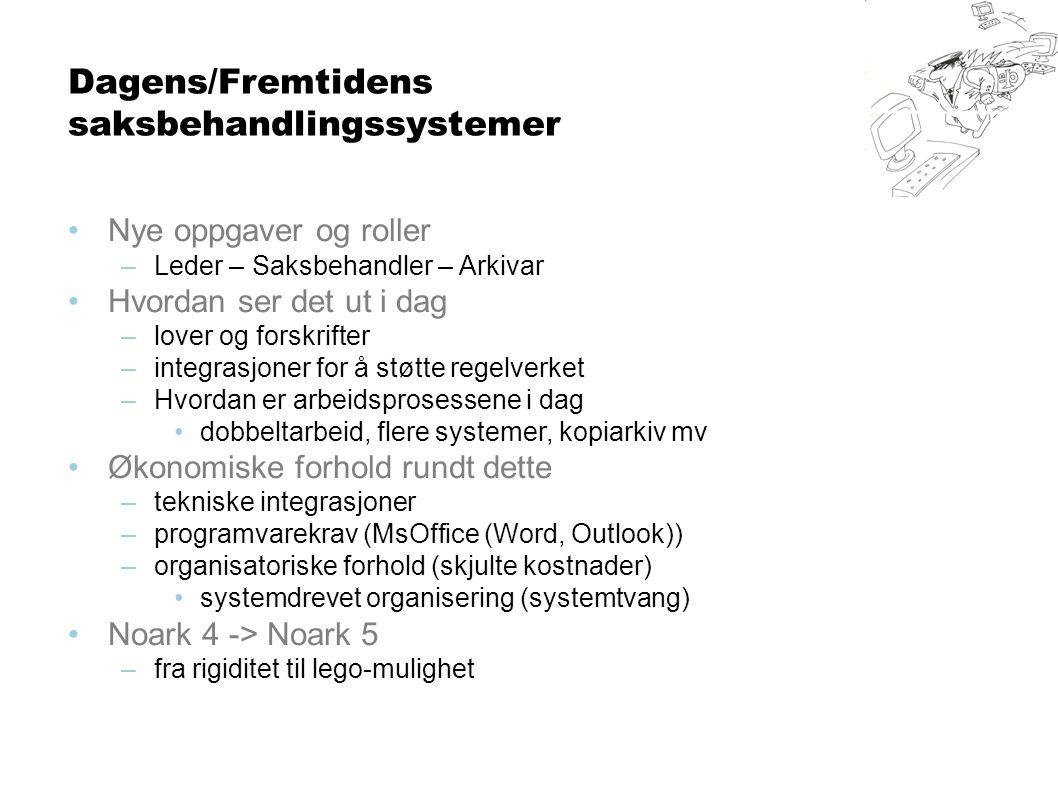 Dagens/Fremtidens saksbehandlingssystemer •Nye oppgaver og roller –Leder – Saksbehandler – Arkivar •Hvordan ser det ut i dag –lover og forskrifter –integrasjoner for å støtte regelverket –Hvordan er arbeidsprosessene i dag •dobbeltarbeid, flere systemer, kopiarkiv mv •Økonomiske forhold rundt dette –tekniske integrasjoner –programvarekrav (MsOffice (Word, Outlook)) –organisatoriske forhold (skjulte kostnader) •systemdrevet organisering (systemtvang) •Noark 4 -> Noark 5 –fra rigiditet til lego-mulighet