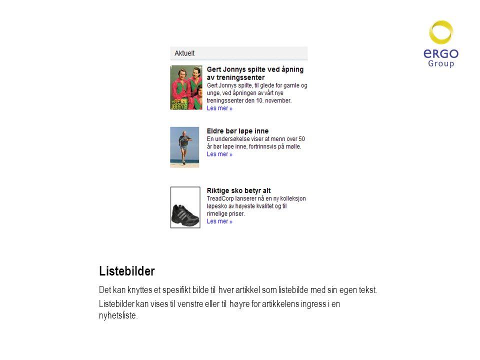 Listebilder Det kan knyttes et spesifikt bilde til hver artikkel som listebilde med sin egen tekst.