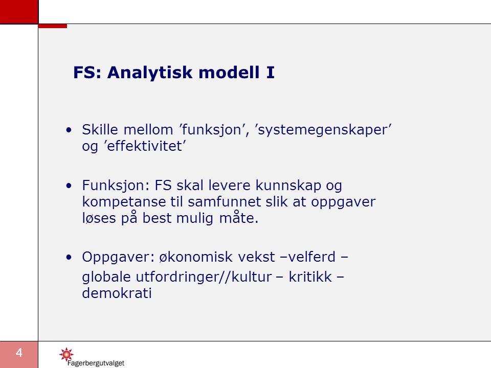 4 FS: Analytisk modell I •Skille mellom 'funksjon', 'systemegenskaper' og 'effektivitet' •Funksjon: FS skal levere kunnskap og kompetanse til samfunnet slik at oppgaver løses på best mulig måte.