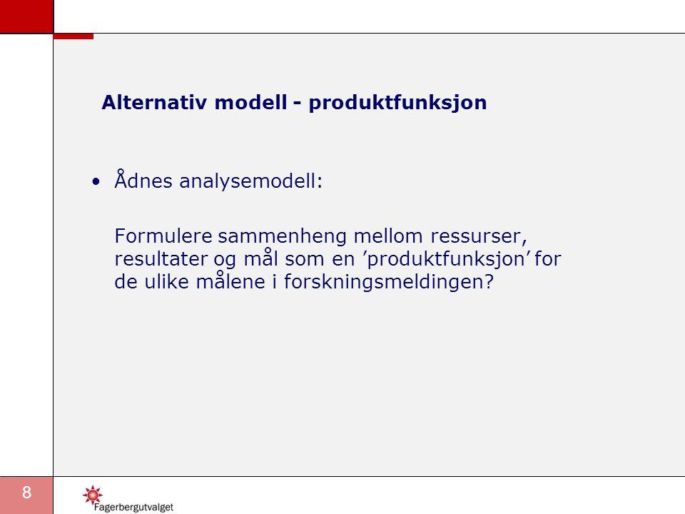 8 Alternativ modell - produktfunksjon •Ådnes analysemodell: Formulere sammenheng mellom ressurser, resultater og mål som en 'produktfunksjon' for de ulike målene i forskningsmeldingen