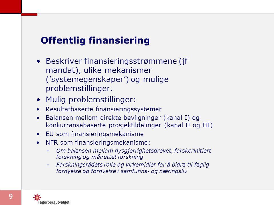 9 Offentlig finansiering •Beskriver finansieringsstrømmene (jf mandat), ulike mekanismer ('systemegenskaper') og mulige problemstillinger.