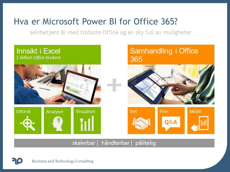 v Hva er Microsoft Power BI for Office 365? Business and Technology Consulting Analyser Visualiser DelFinn Q&AQ&A Mobil Utforsk skalerbar | håndterbar