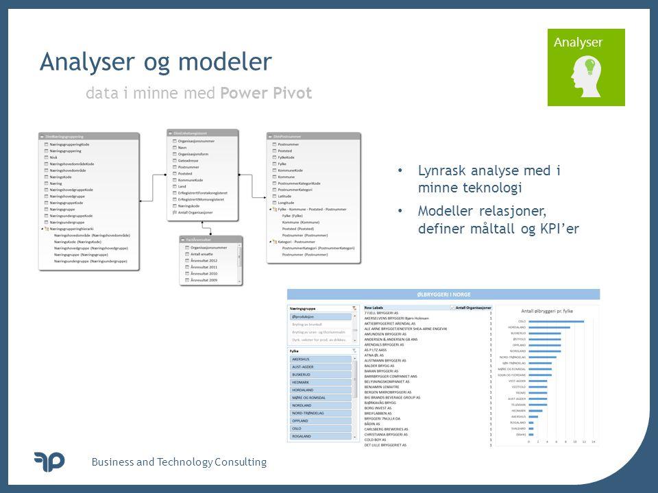 v Analyser Analyser og modeler Business and Technology Consulting data i minne med Power Pivot • Lynrask analyse med i minne teknologi • Modeller rela